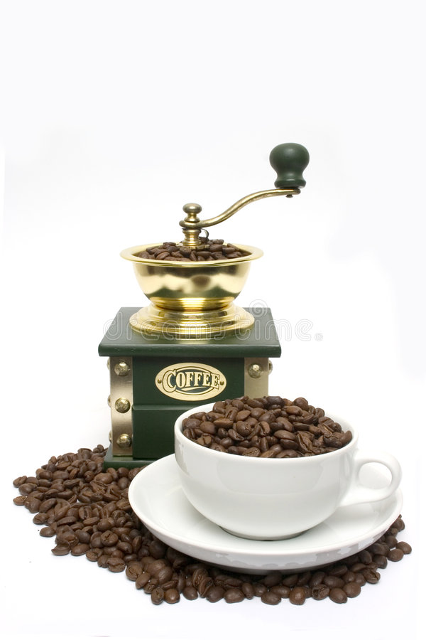 Beans Cup And Grinder Royalty Free Stock Photo