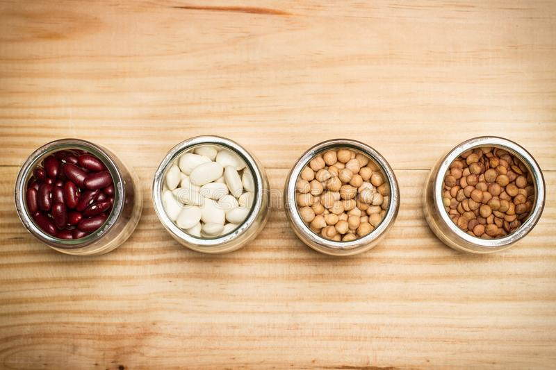 Beans, lentils and and chickpeas royalty free stock photography