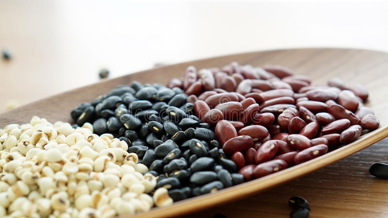 Beans red black and job's tear multigrain protien food stock images