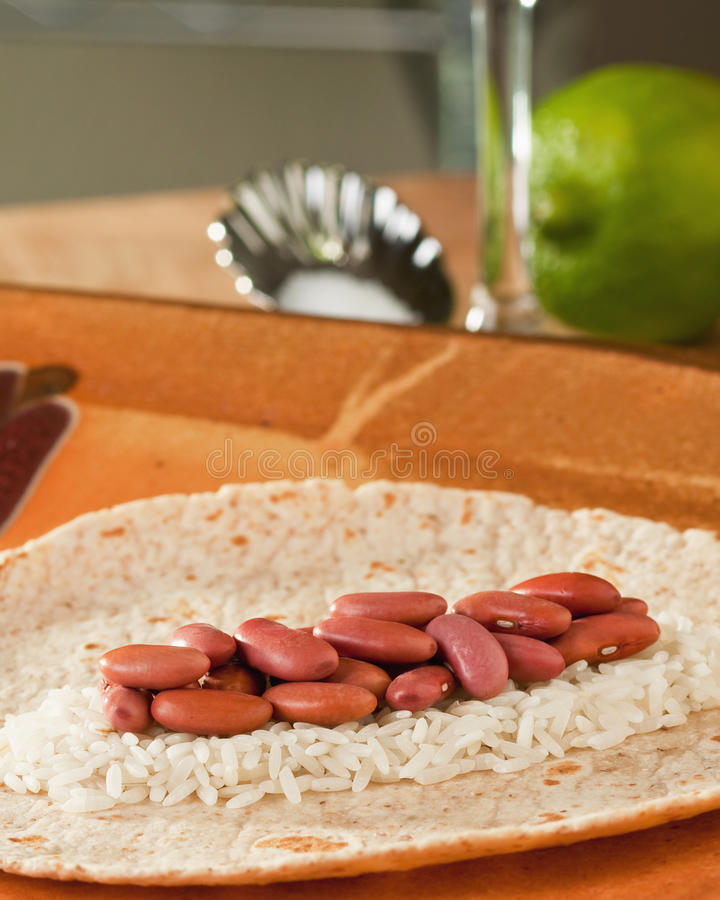 Download Beans rice tortilla lime stock image. Image of burrito - 12503285
