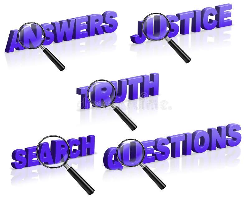Beantwoord de waarheidsvraag van het rechtvaardigheidsonderzoek stock illustratie