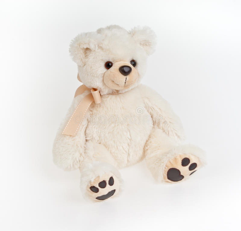 Bear. The polar plush bear sits and looks and smile stock photo