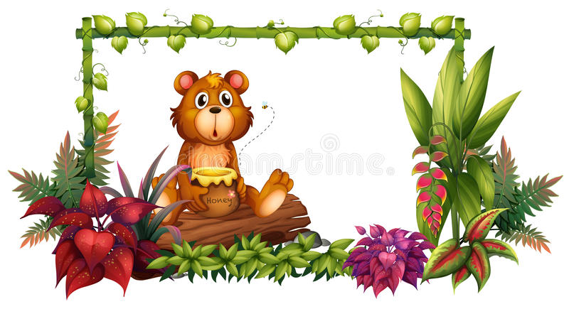 A bear above a trunk in the garden. Illustration of a bear above a trunk in the garden on a white background royalty free illustration