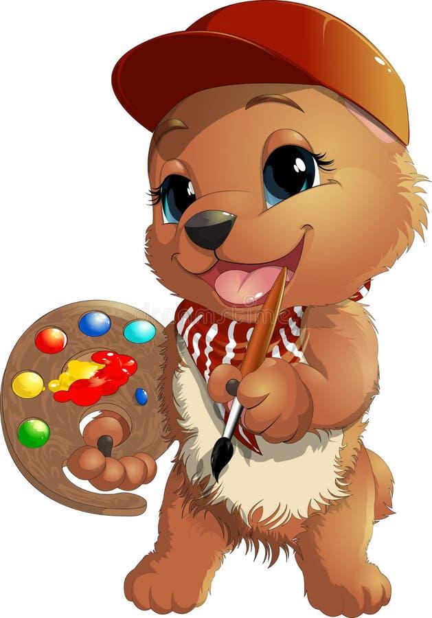 Bear artist in a cap royalty free illustration