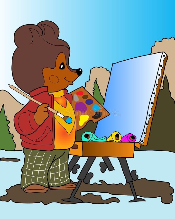 Bear artist. stock illustration
