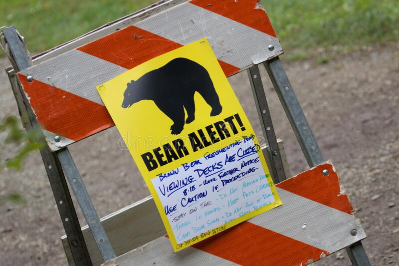 Bear Aware Warnings in Alaska. Bear Aware Warnings signs are put up while the salmon are running in Alaska royalty free stock photography