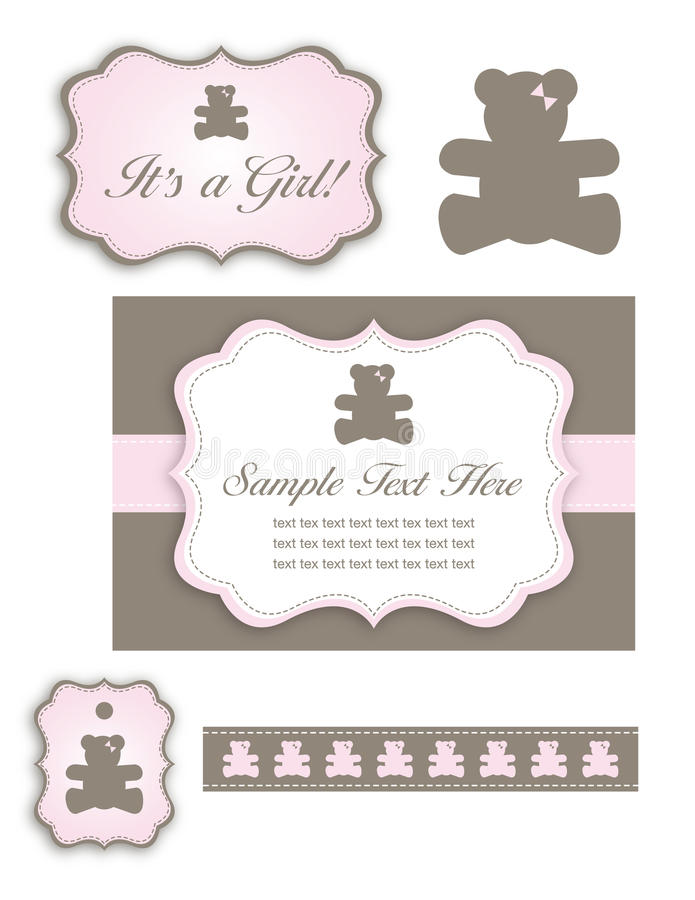 Download Bear Baby Girl Shower Set Of Icons And Tags Stock Illustration - Image: 20422020