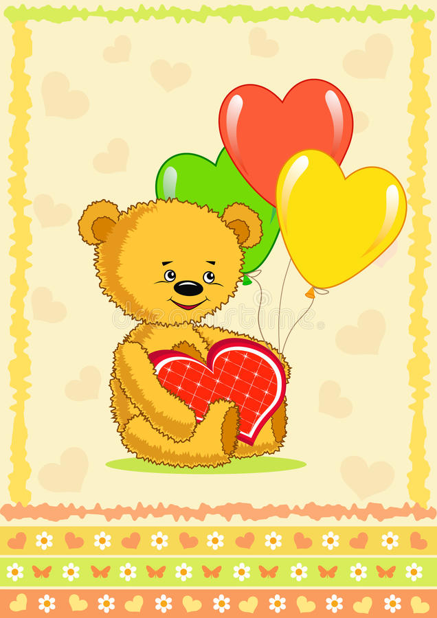 Download Bear With Balloon. Cartoon. Royalty Free Stock Image - Image: 12275356