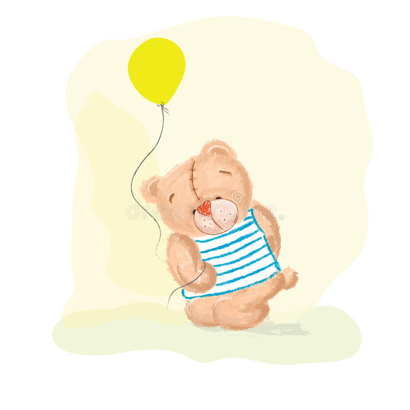 Bear with balloon royalty free stock photography