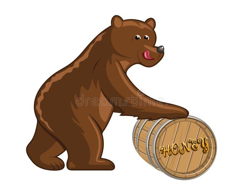 Bear and barrel vector illustration