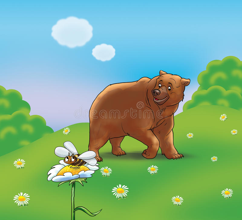 Bear and bee. Illustration. A brown bear meet with a cute bee, which is flying up to flower, in summer's nice day on a beautiful color background. Digital royalty free illustration