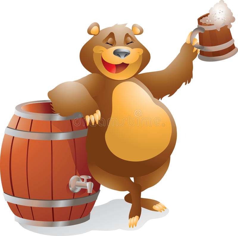 Bear with beer royalty free stock images