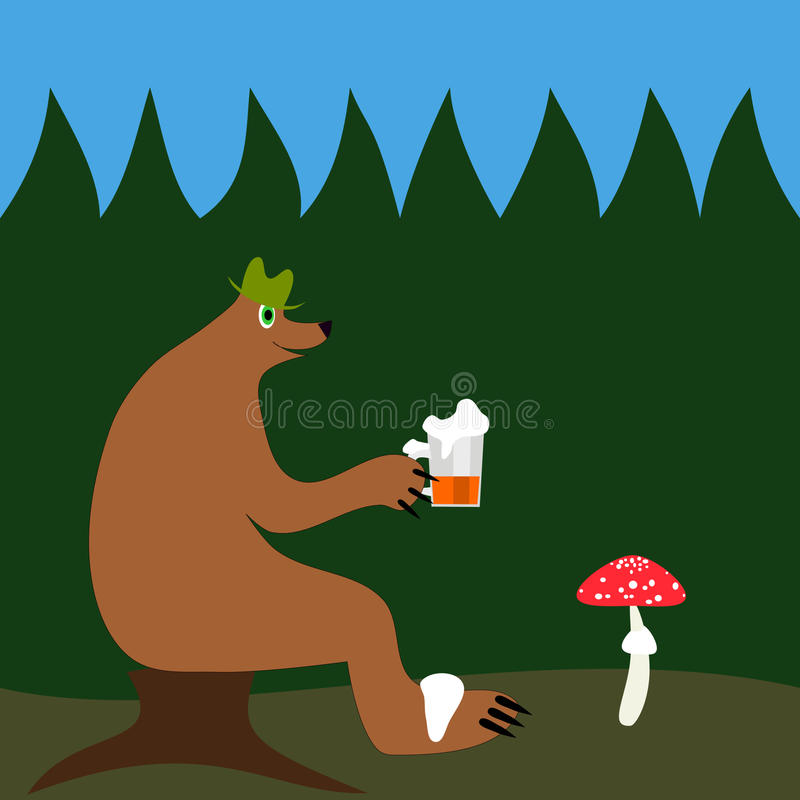 Bear with beer in forest royalty free stock images