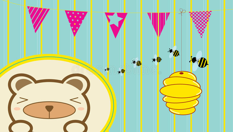 The bear and the bees. royalty free stock image