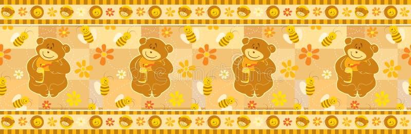 Download Bear And Bees Wallpaper Border Stock Vector - Image: 17457456