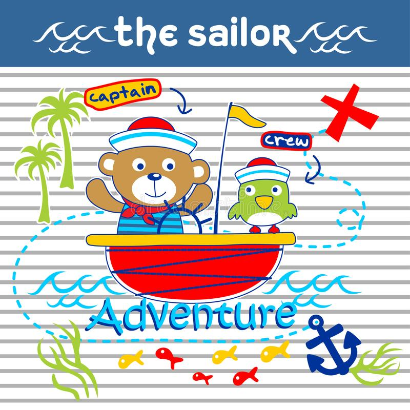Bear and bird the sailorman funny animal cartoon,vector illustration royalty free illustration