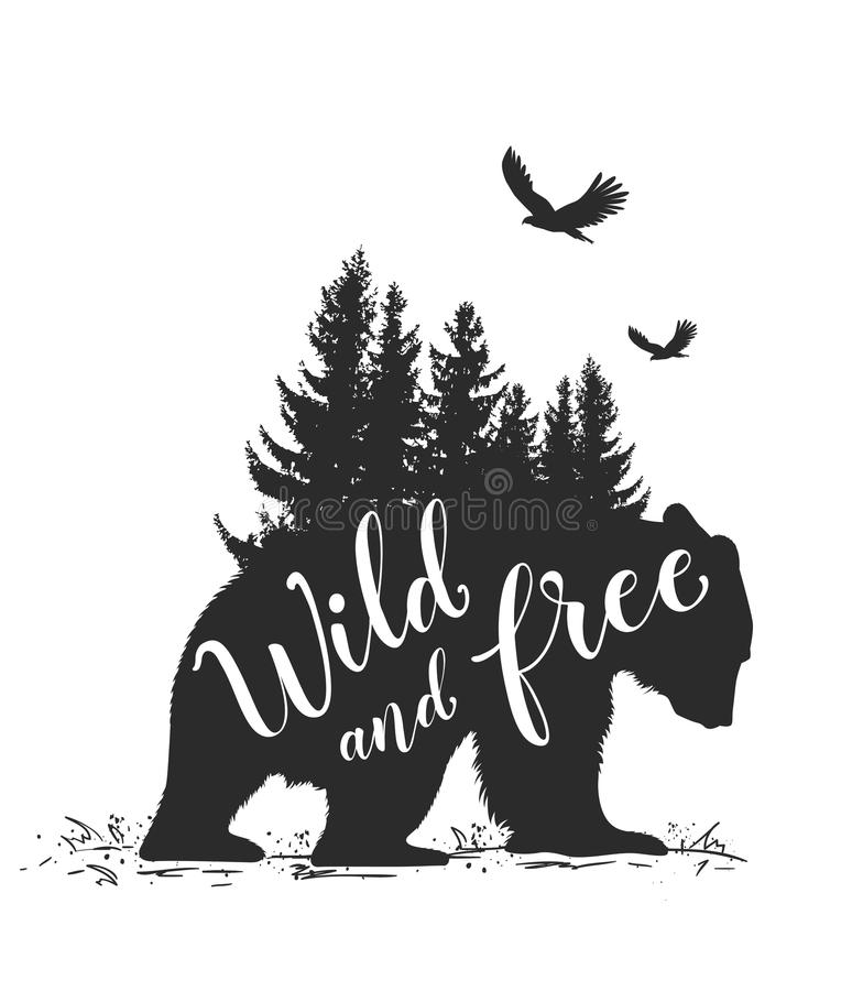 Bear, birds and fir tree. Silhouette of a wild bear, fir tree and calligraphy. Wild life in nature vector illustration