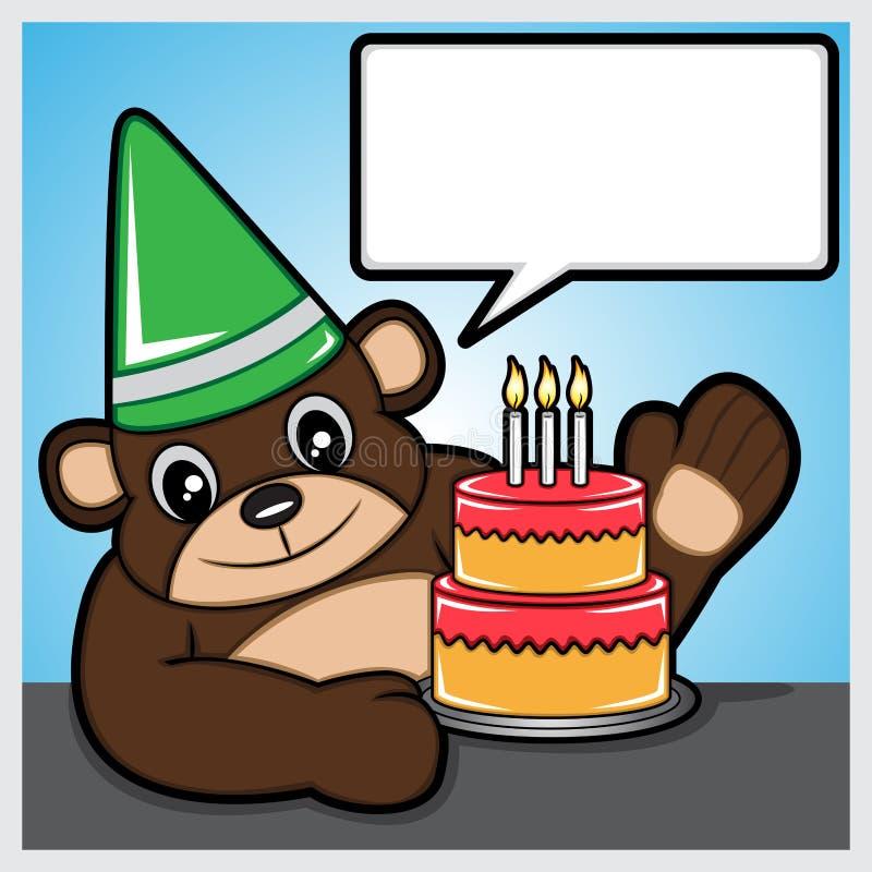 Bear and birthday cake. Illustration of a bear and birthday cake vector illustration
