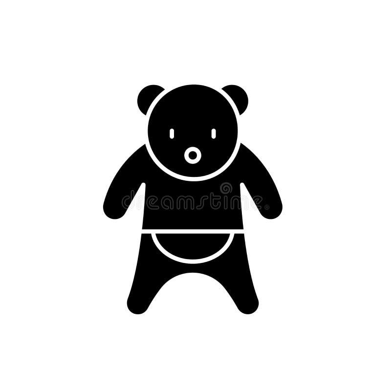 Bear black icon, vector sign on isolated background. Bear concept symbol, illustration royalty free illustration