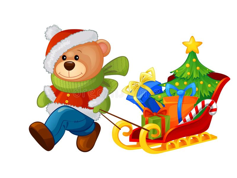 Bear bringing sleigh with Christmas tree and gifts stock illustration