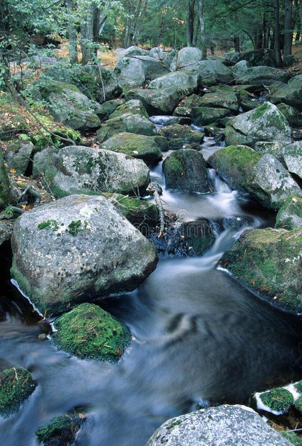 Bear Brook - New Hampshire. Boulder strewn bubbling brook. Bear Brook State Park, Allenstown, New Hampshire - Fall royalty free stock images
