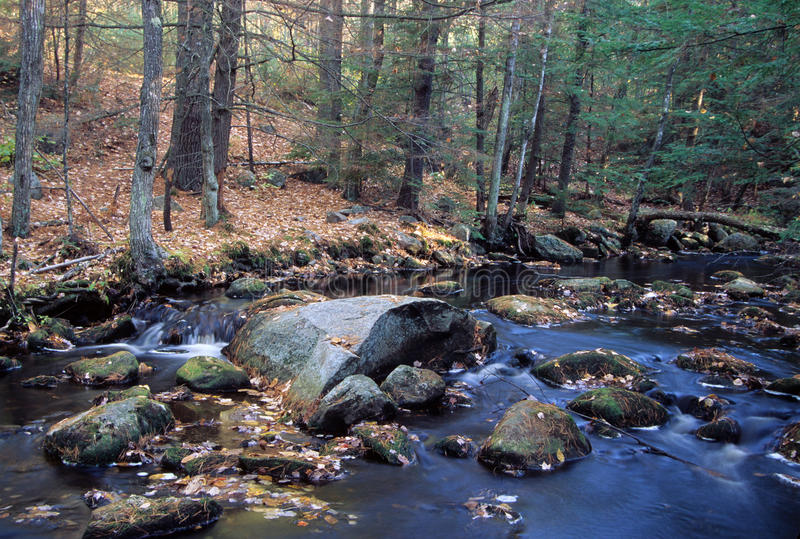 Bear Brook - New Hampshire. Boulder strewn bubbling brook. Bear Brook State Park, Allenstown, New Hampshire - Fall stock photography