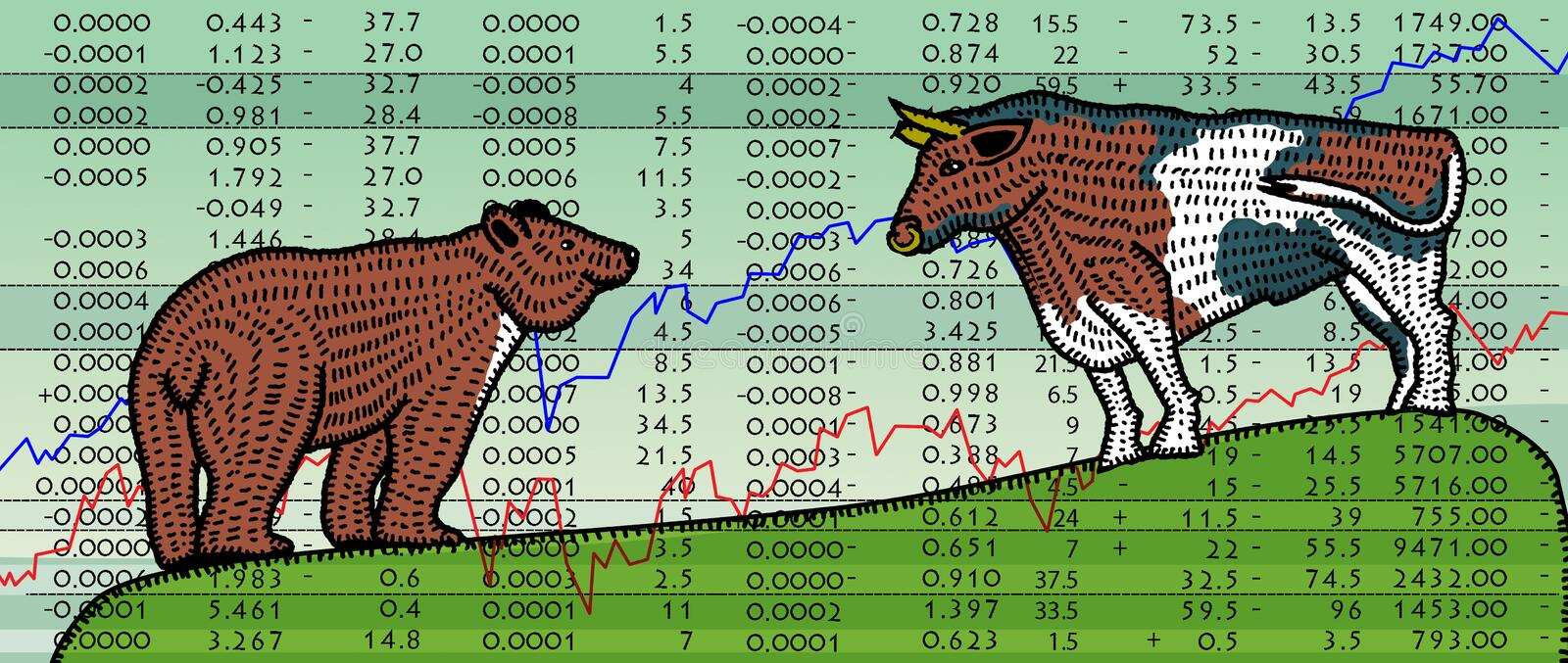 Bear and a bull on the background of the charts of stock exchange reports. Splint folk style royalty free illustration