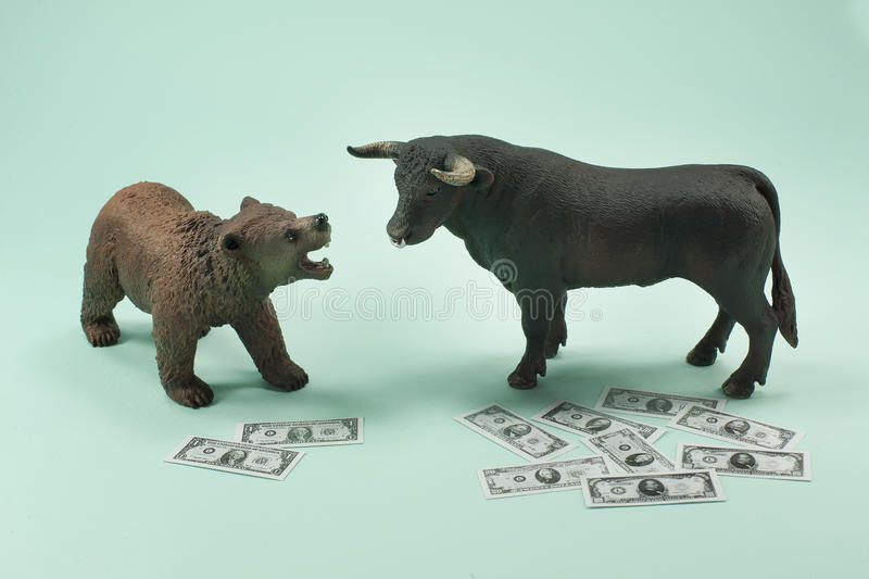 Bear or Bull Market. Not sure about a bear or bull market? Now is the time to consult your broker royalty free stock images