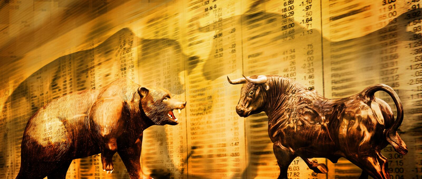 Bear and bull stock market vector illustration
