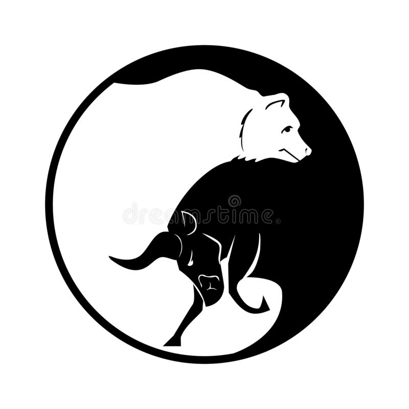 Bear and bull vector logo. Players on Exchange. Bulls and bears traders on a stock market. Vector. vector illustration