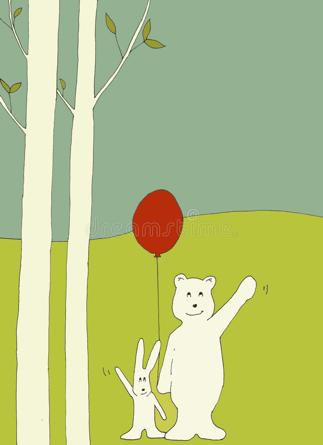 Download Bear and bunny waving stock illustration. Image of spring - 3088938