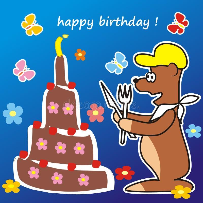Download Bear and cake stock illustration. Illustration of child - 31524557