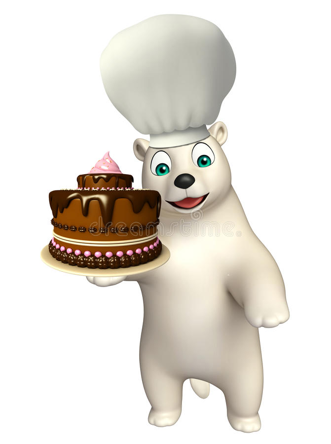 Bear cartoon character with chef hat and cake. 3d rendered illustration of Bear cartoon character with chef hat and cake vector illustration