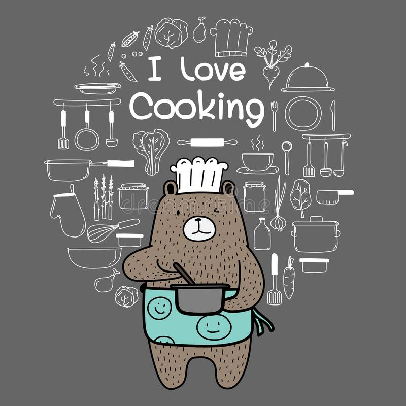 Bear Chef Is Cooking. Brown Bear Wearing An Blue Apron Say `i Love Cooking`. Hand Drawn Doodle Vector Cooking Set. royalty free illustration