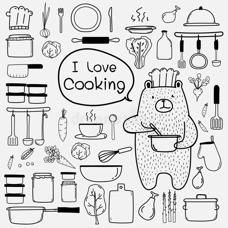 Bear Chef Is Cooking Say `i Love Cooking`. Line Hand Drawn Doodle Vector Cooking Set Include Cooking Equipment & Raw Materials. stock illustration
