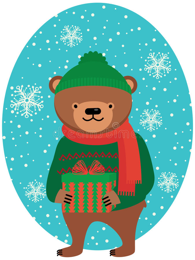 Bear with Christmas gifts royalty free illustration