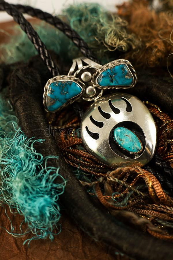 Bear Claw Bolo and Ring with Turquoise and Silver stock images