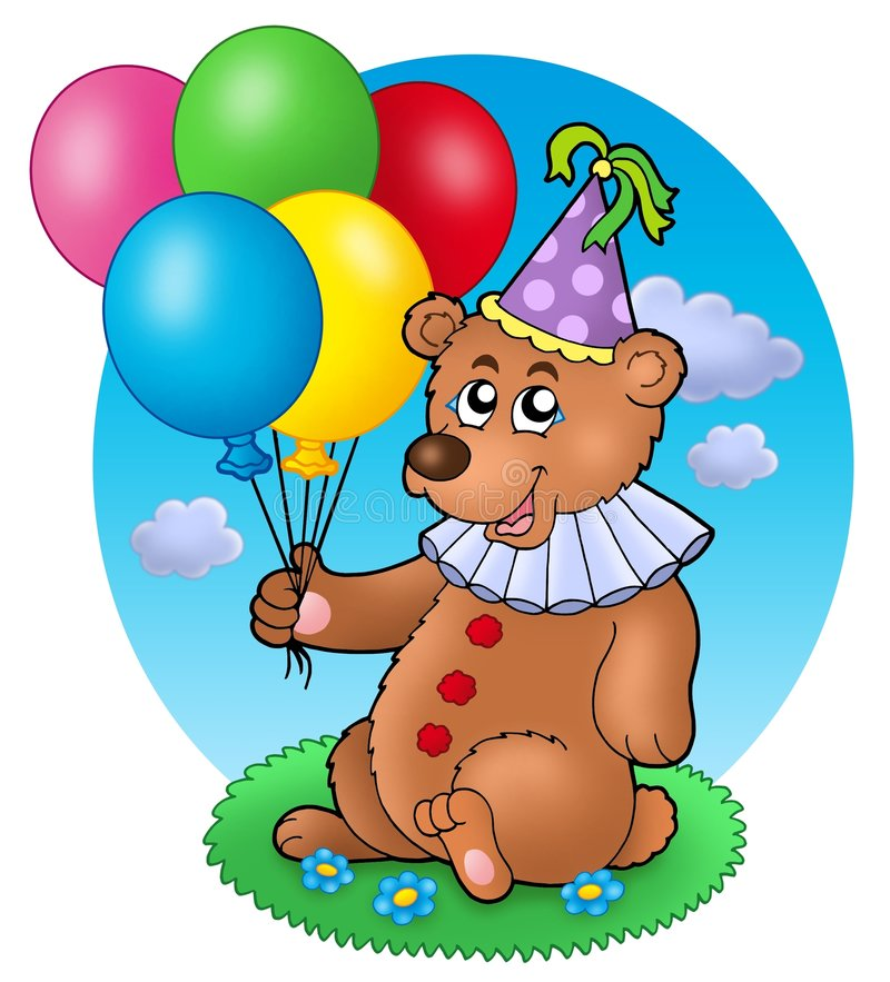 Bear clown with balloons on meadow royalty free illustration