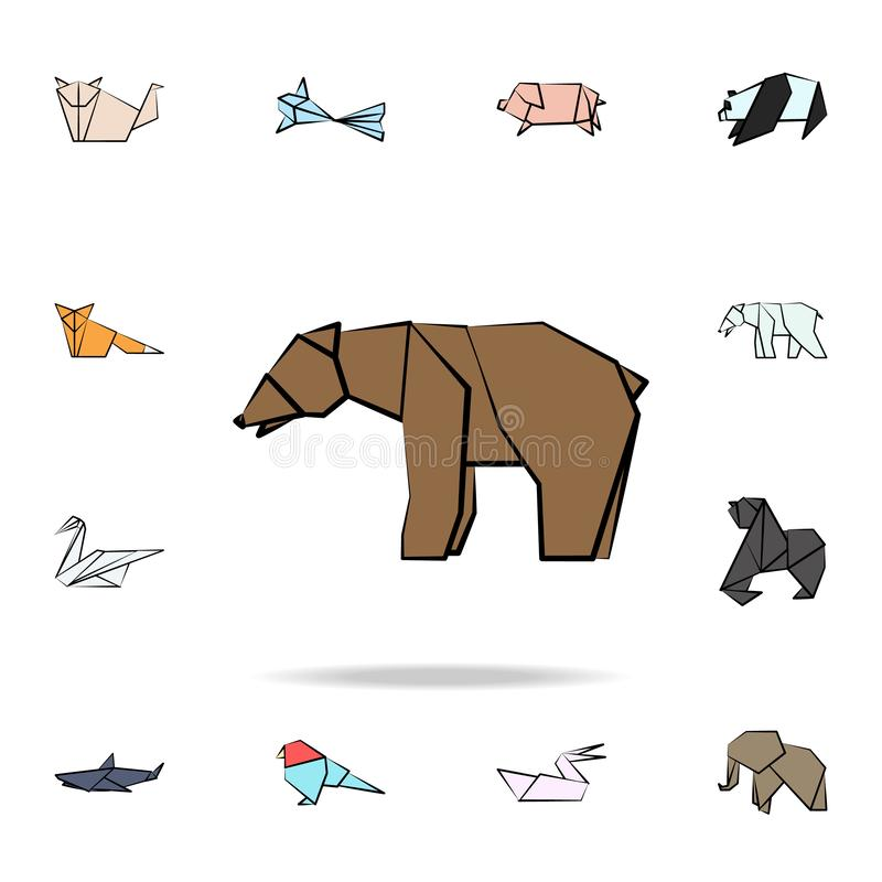 Bear colored origami icon. Detailed set of origami animal in hand drawn style icons. Premium graphic design. One of the collection. Icons for websites, web stock illustration