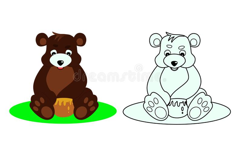 Bear coloring book for kids stock illustration