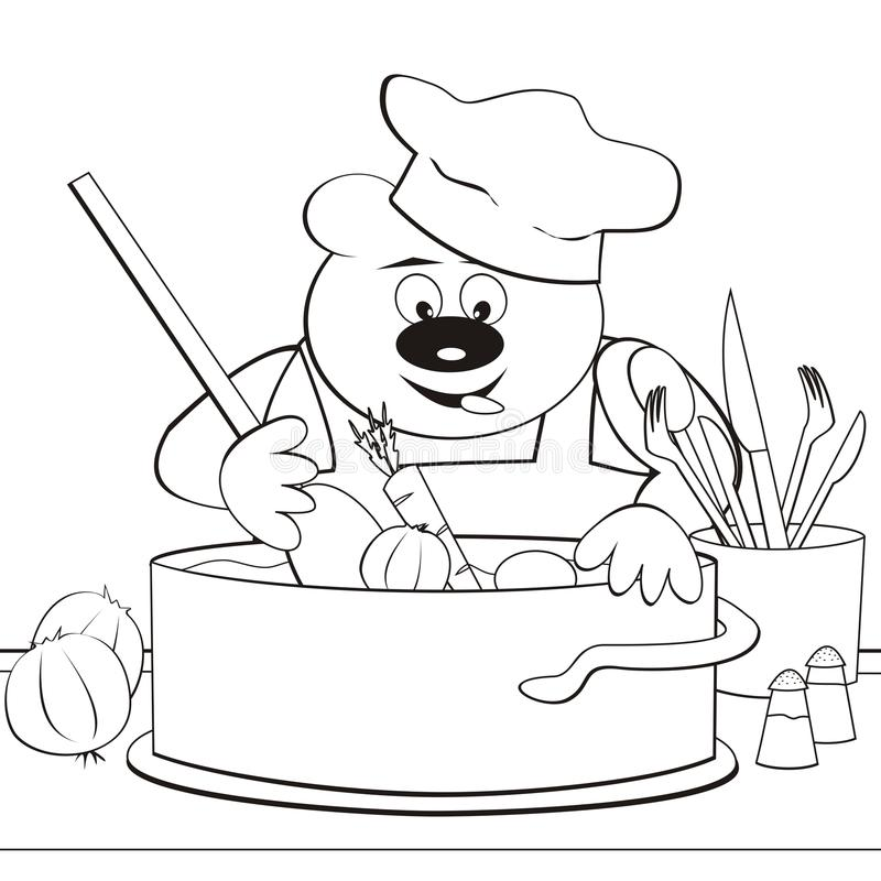 Bear - cook, coloring-book stock vector. Illustration of children ...