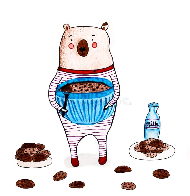 Bear with cookies royalty free illustration