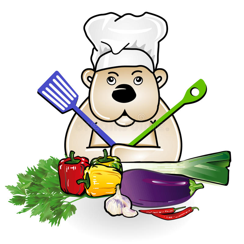 Bear at cooking royalty free illustration