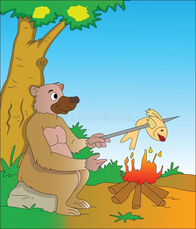 Bear Cooking a Fish, illustration stock illustration