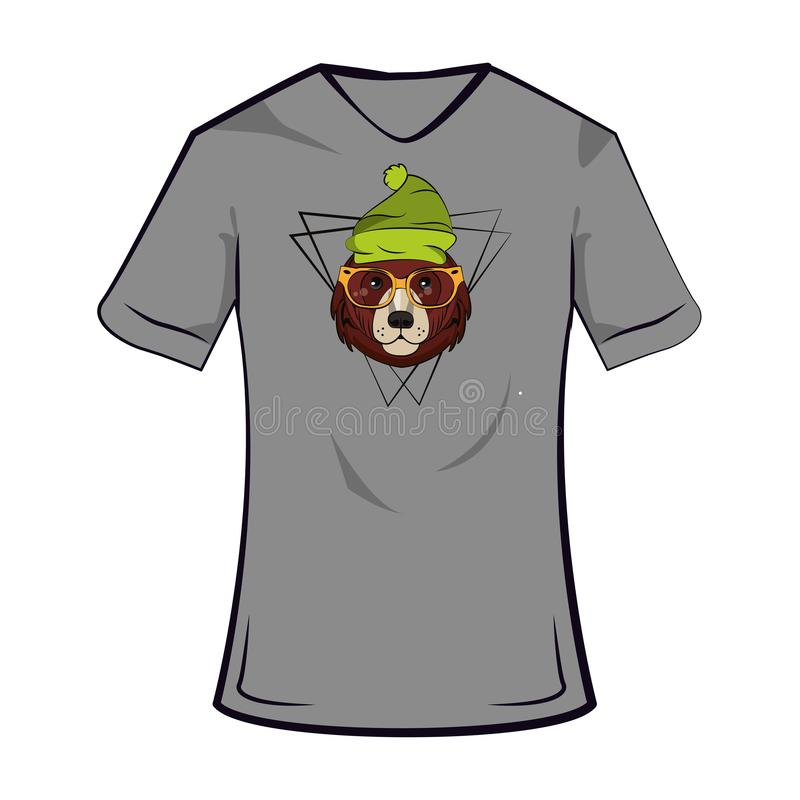Bear cool sketch on tshirt. Bear hipster cool sketch on tshirt vector illustration graphic design vector illustration