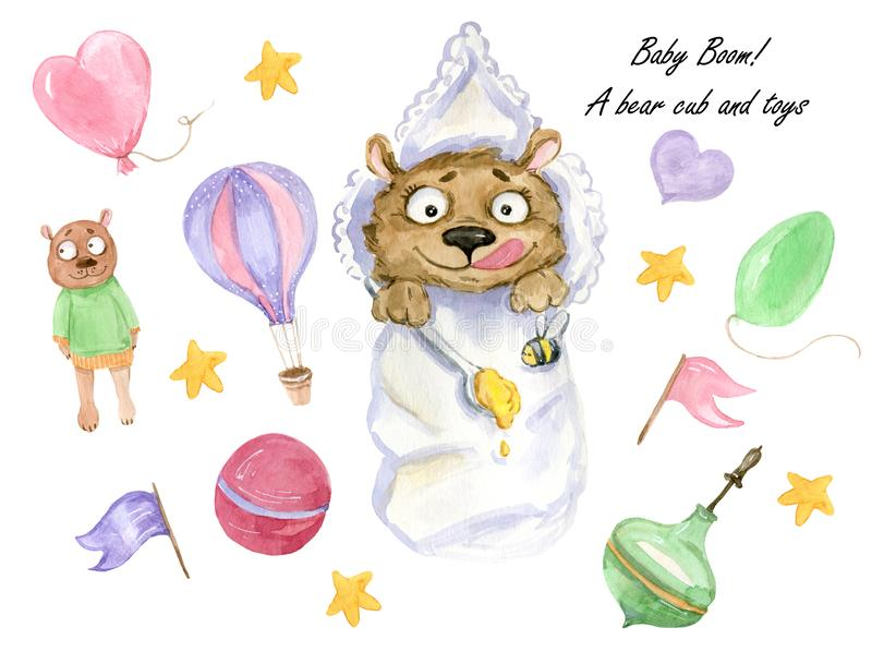 A bear cub and his toys. Watercolor illustration, a set of hand-painted clipart of a cute baby cub wrapped in a blanket and holding a spoon of honey and his toys stock images