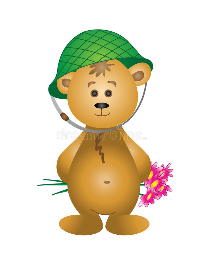 Free Bear Cub In A Helmet With A Bouquet Stock Images - 12787804