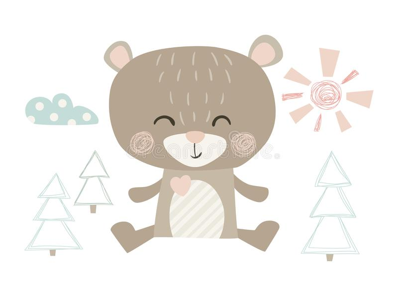 Bear cute print royalty free illustration