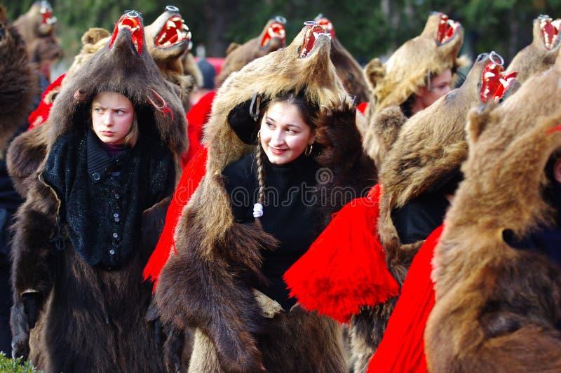 Bear dance parade 5. Unidentified bear dressed woman portrait on Traditional Bear Dance parade in Comanesti, Romania royalty free stock photos