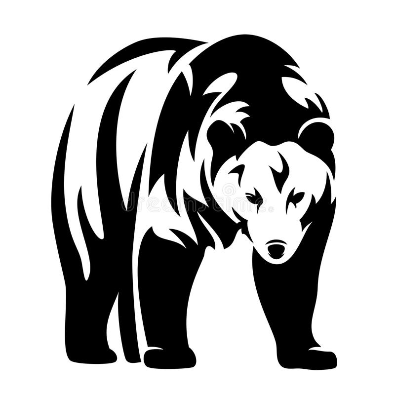 Bear design. Grizzly bear black and white vector design - standing animal monochrome outline royalty free illustration